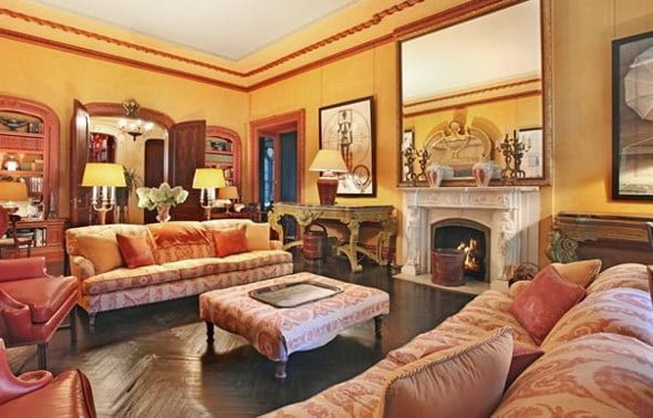 Antique Living Room with Fireplace