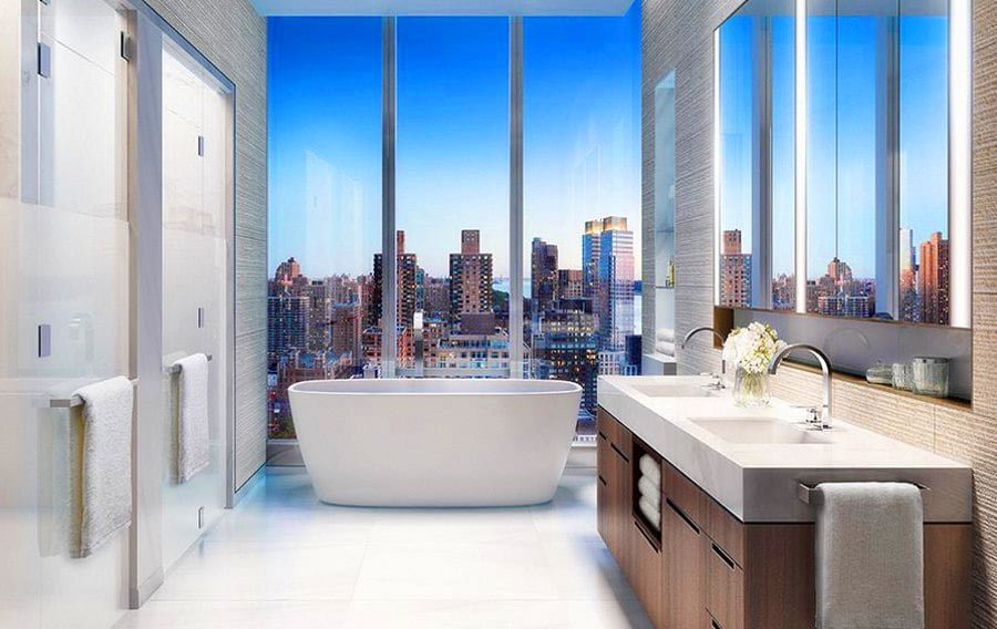 Bathroom with a City View