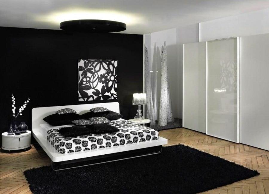 Black Bedroom with White Shelves