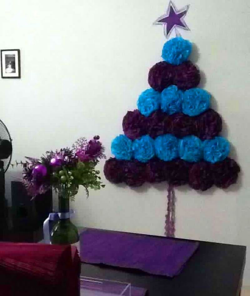 Paper Pom Pom Christmas Tree Alternative
