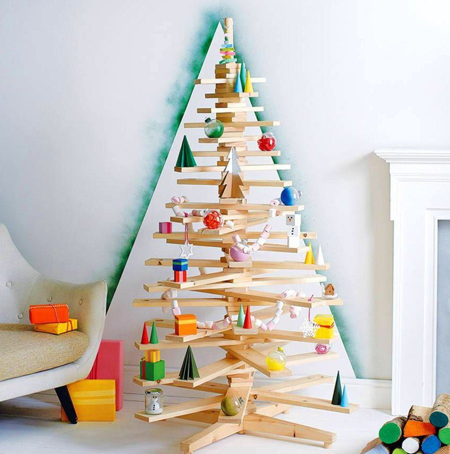 Wood Board Christmas Tree Alternative