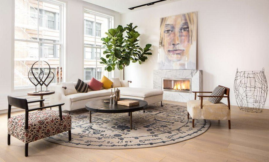 White Living Room Art Fireplace