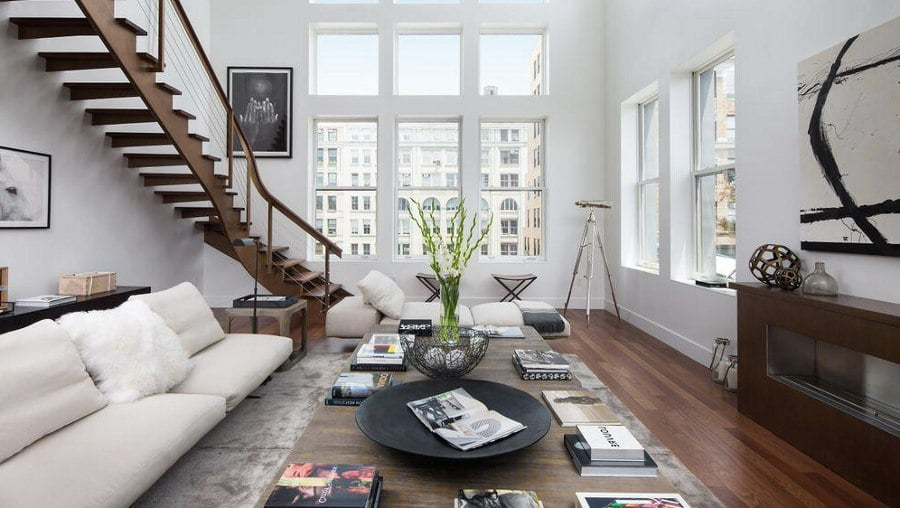White Living Room with Staircase