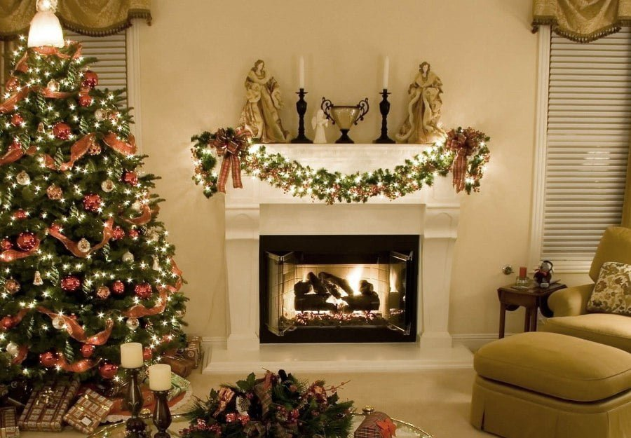classic christmas tree fireplace