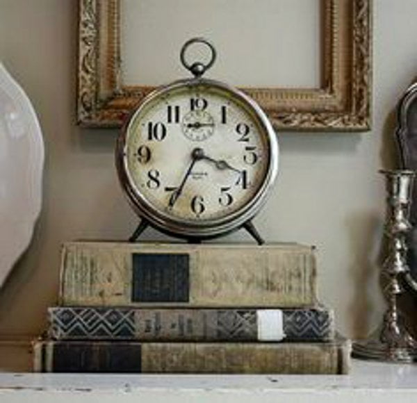Vintage books and clock