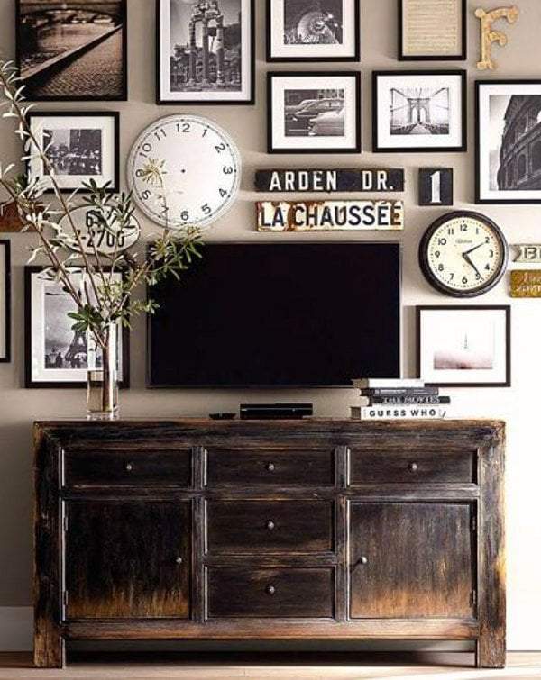 vintage picture wall and tv