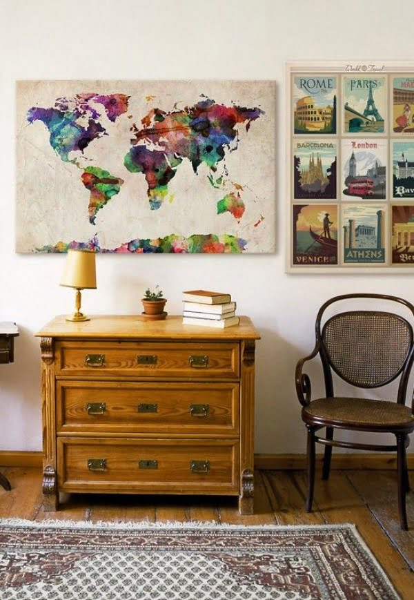 World Travel Poster and World Urban Watercolor Map