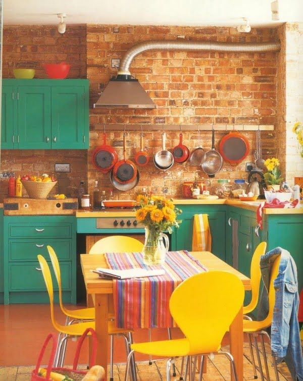 Exposed Brick Wall Retro Kitchen #kitchendesign
