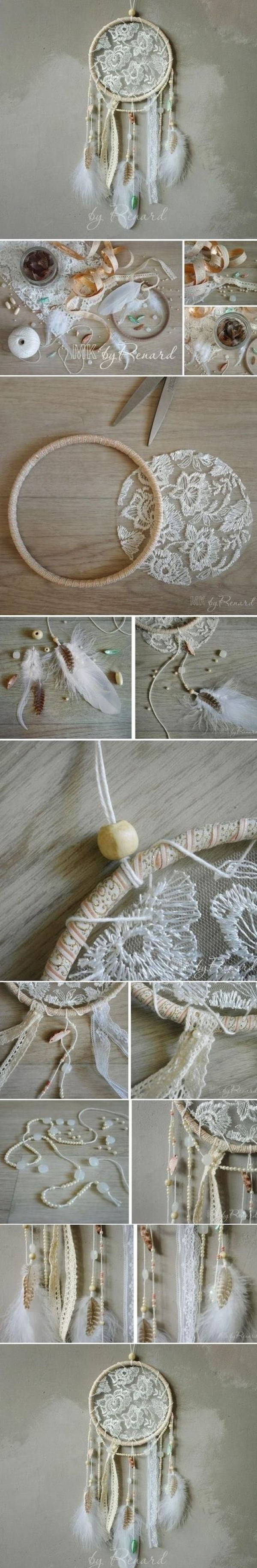 Make your own #DIY dreamcatcher for your bedroom. Looks easy enough! #homedecorideas