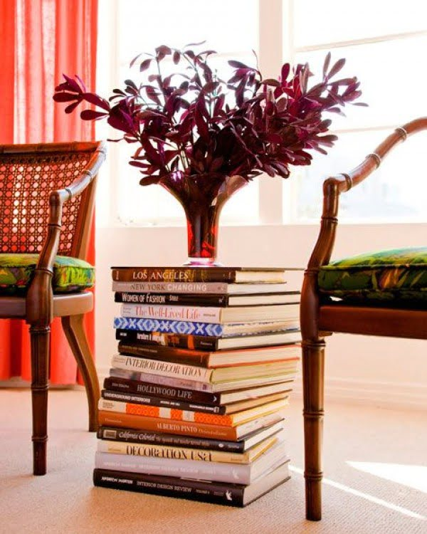 Side Table Made of Books #homedecor