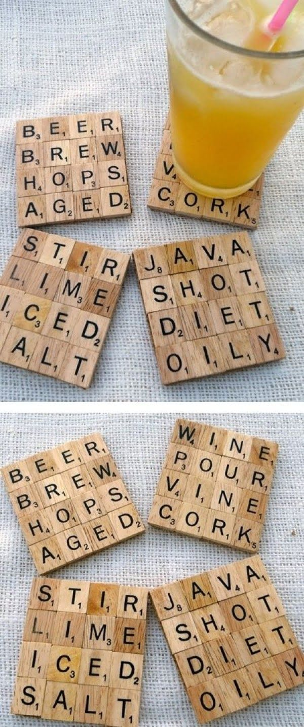 How to make #DIY coaster from scrabble tiles. Brilliant idea! #homedecorideas