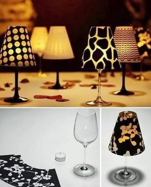 #DIY candle lampshades from wine glasses. Includes printable templates! #homedecorideas