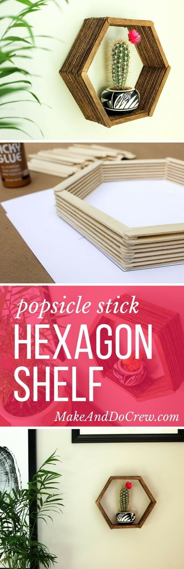 How to make #DIY wall shelves from popsicle sticks. Neat idea! #homedecorideas