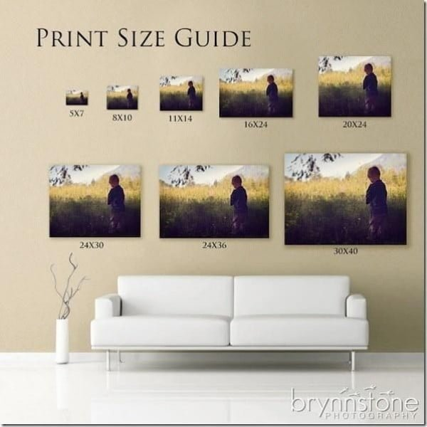 Print Size Guide Cheat Sheet #homedecor