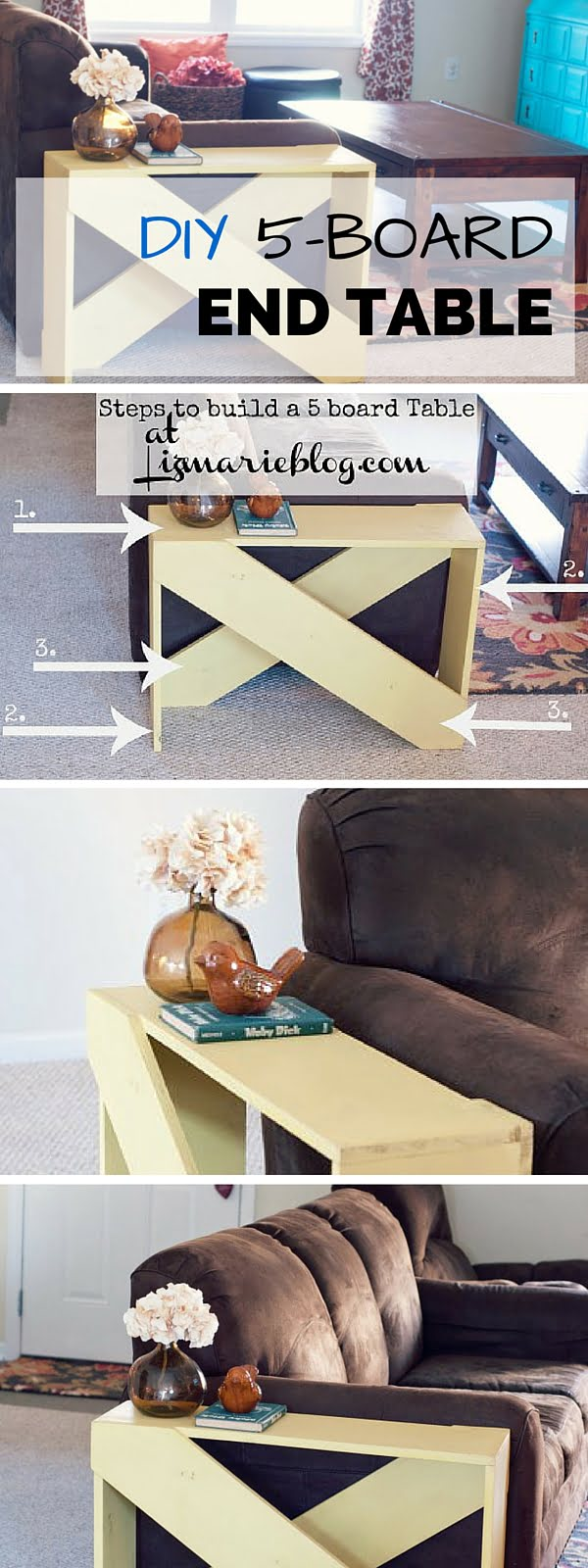 Check out the tutorial: #DIY 5-Board End Table #crafts #homedecor