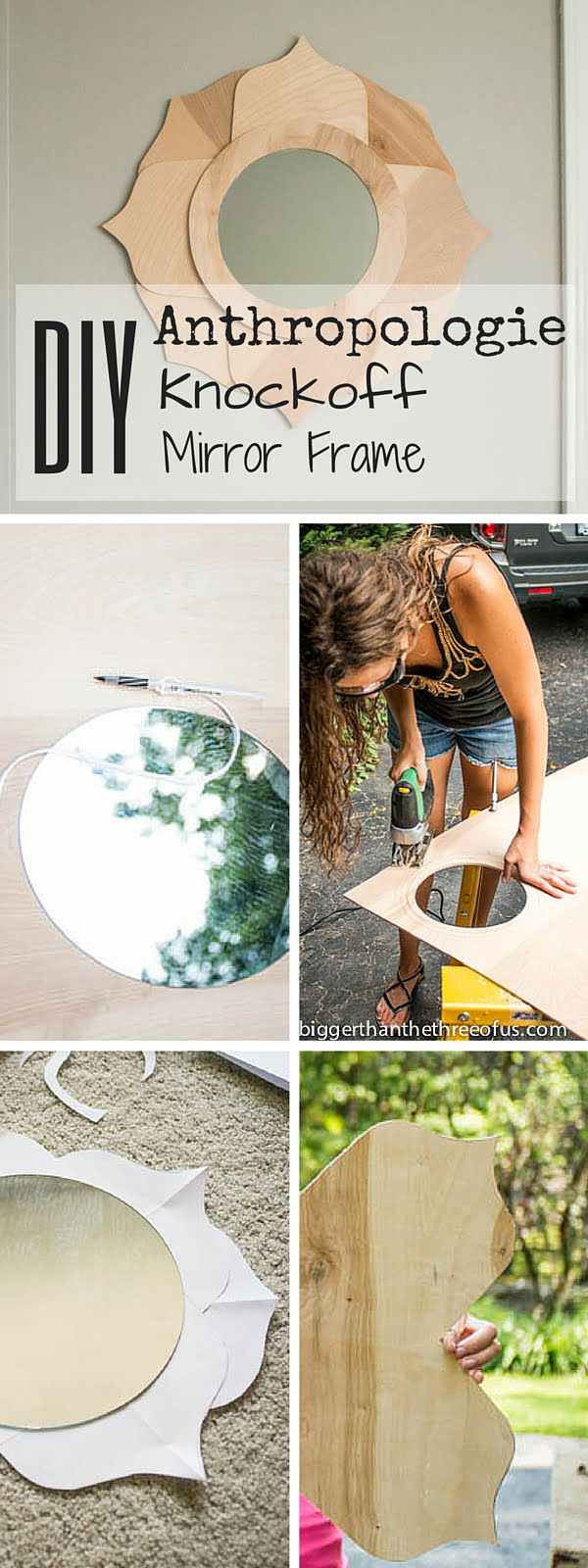 Check out the tutorial:  Anthropologie Knockoff Mirror Frame