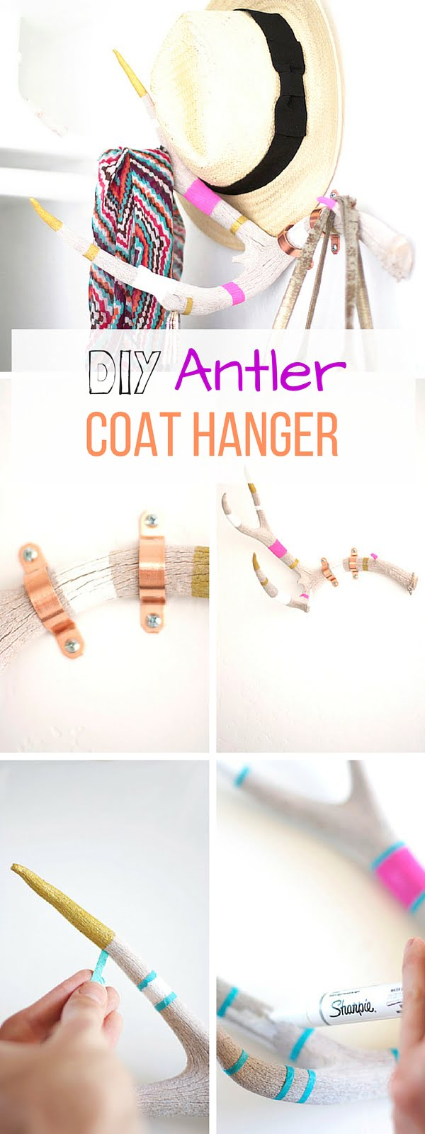 Check out the tutorial: #DIY Antler Coat Hanger #crafts #homedecor