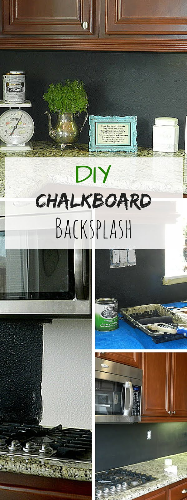 Check out the tutorial: #DIY Chalkboard Backsplash #crafts #homedecor