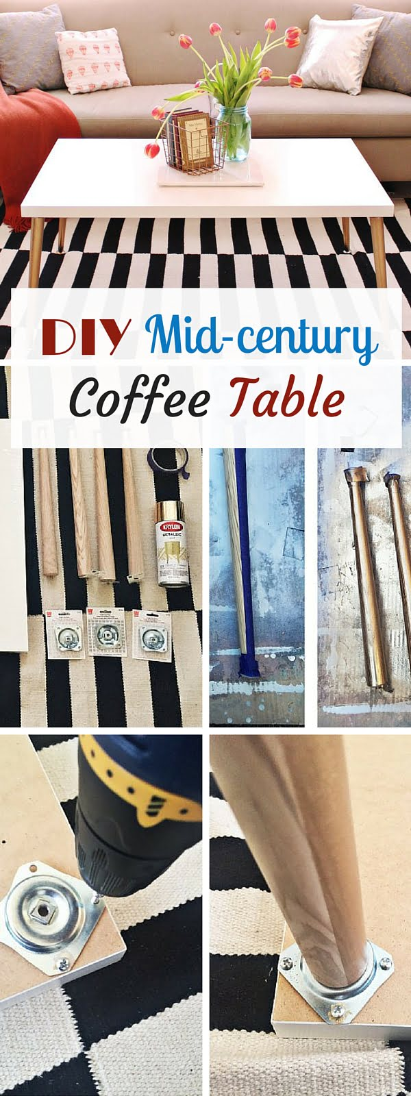 Check out the tutorial: #DIY Mid-century Coffee Table #crafts #homedecor