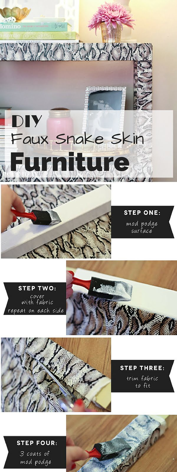 Check out the tutorial: #DIY Faux Snake Skin Furniture #crafts #homedecor