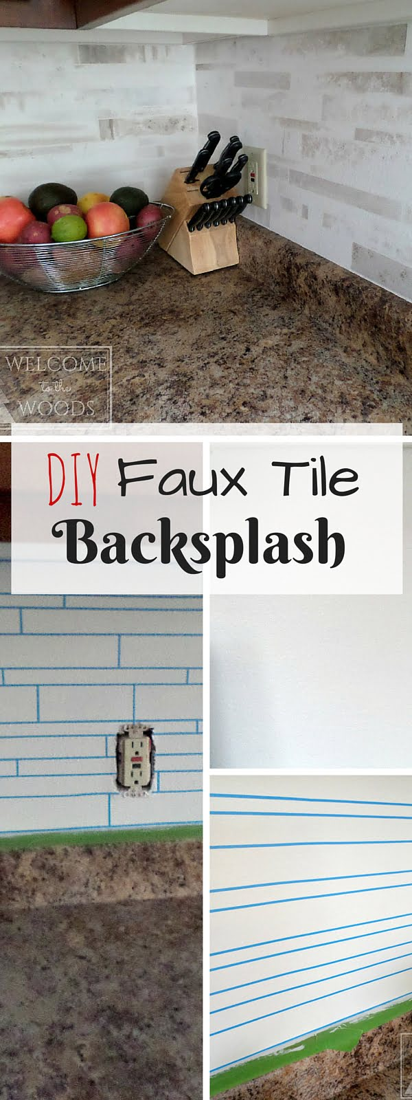 Check out the tutorial: #DIY Faux Tile Backsplash #homedecor