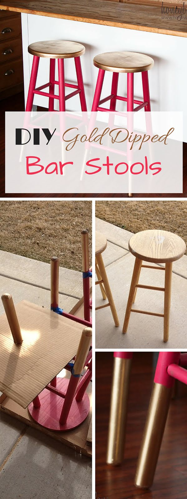 Check out the tutorial: #DIY Gold Dipped Stools #crafts #homedecor