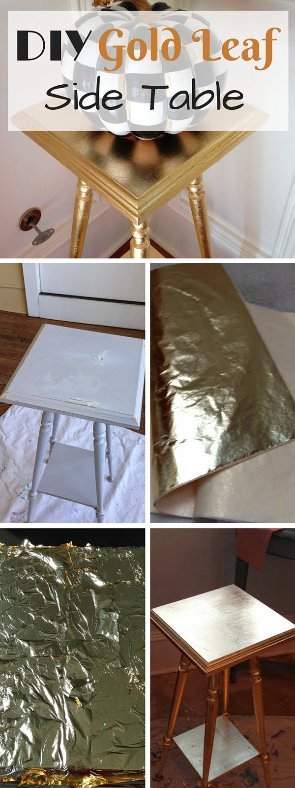 Check out the tutorial: #DIY Gold Leaf Side Table #crafts #homedecor