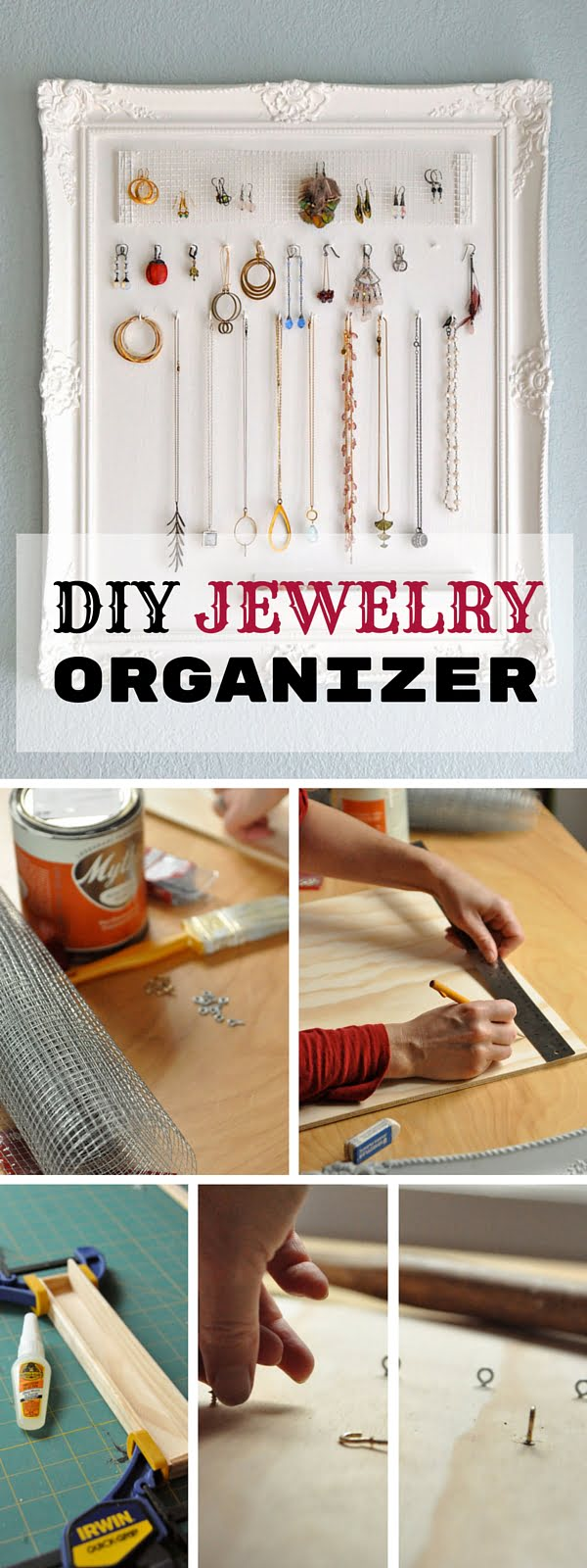 Check out the tutorial: #DIY Jewelry Organizer #crafts #homedecor