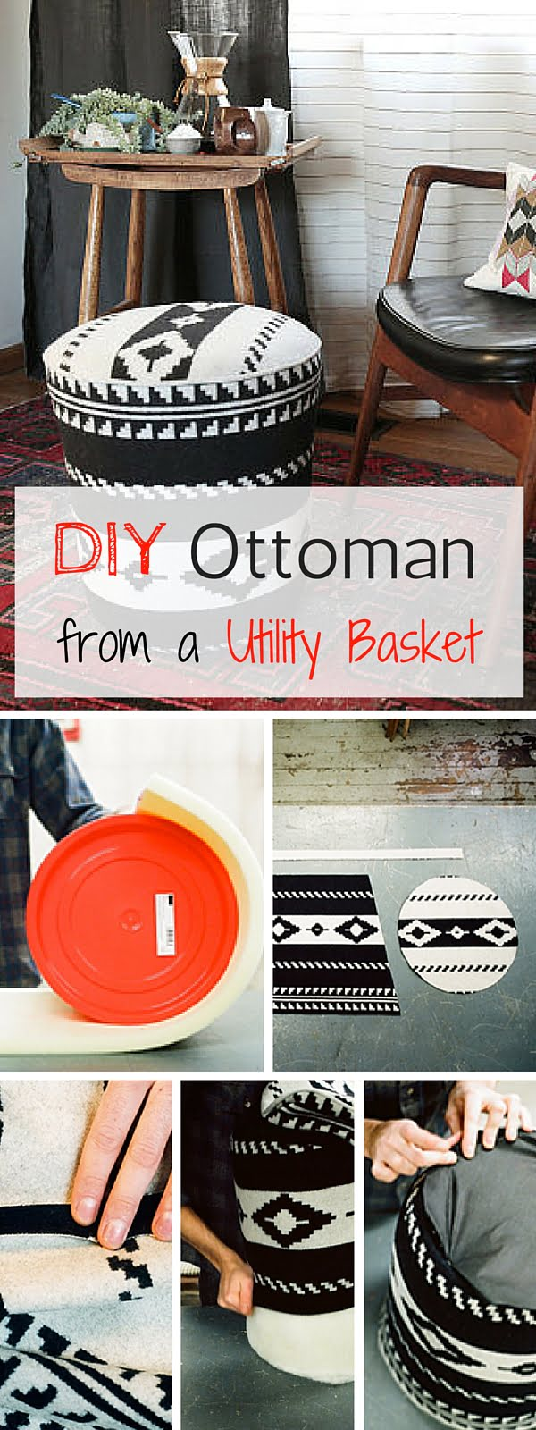 Check out the tutorial: #Ottoman from an Utility Basket #crafts #homedecor