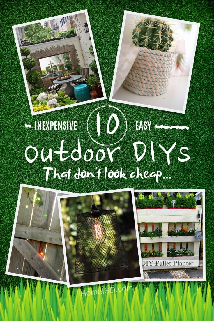Looking to pretty up your outdoor space? Here's a wonderful list of inexpensive outdoor DIY projects that don't look cheap! #DIY #backyard