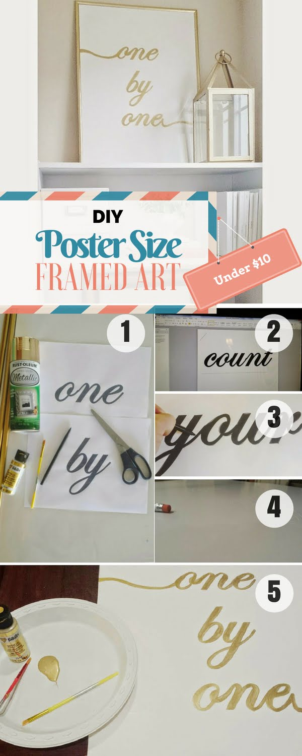 Check out the tutorial for a DIY Poster-Sized Framed Art