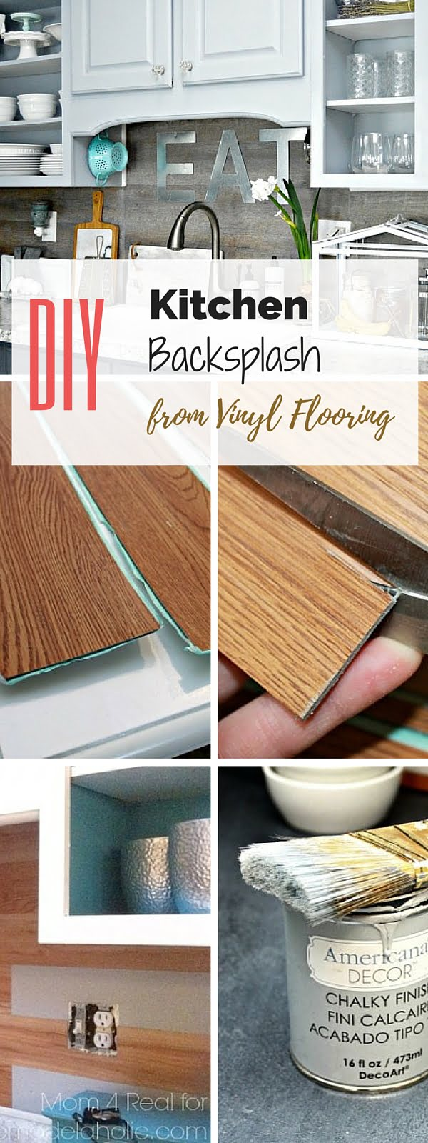 Check out the tutorial: #DIY Vinyl Plank Backsplash #crafts #homedecor