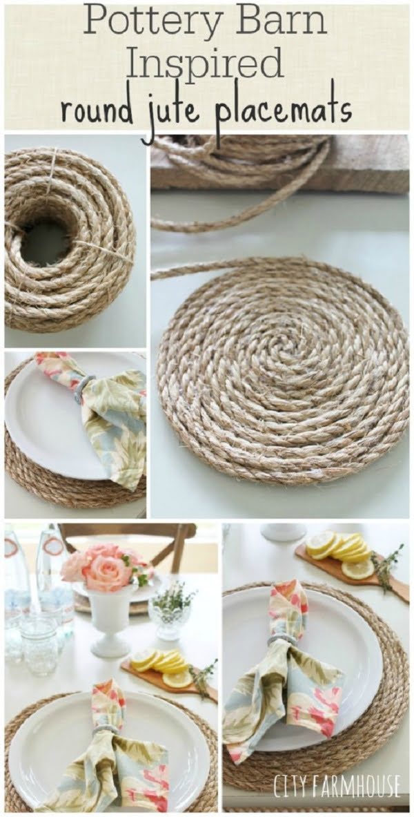 Neat idea! #DIY round jute placemats. So simple to make! #homedecorideas