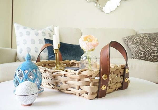 How to make a #DIY paper basket with leather handles. Great idea! #homedecorideas