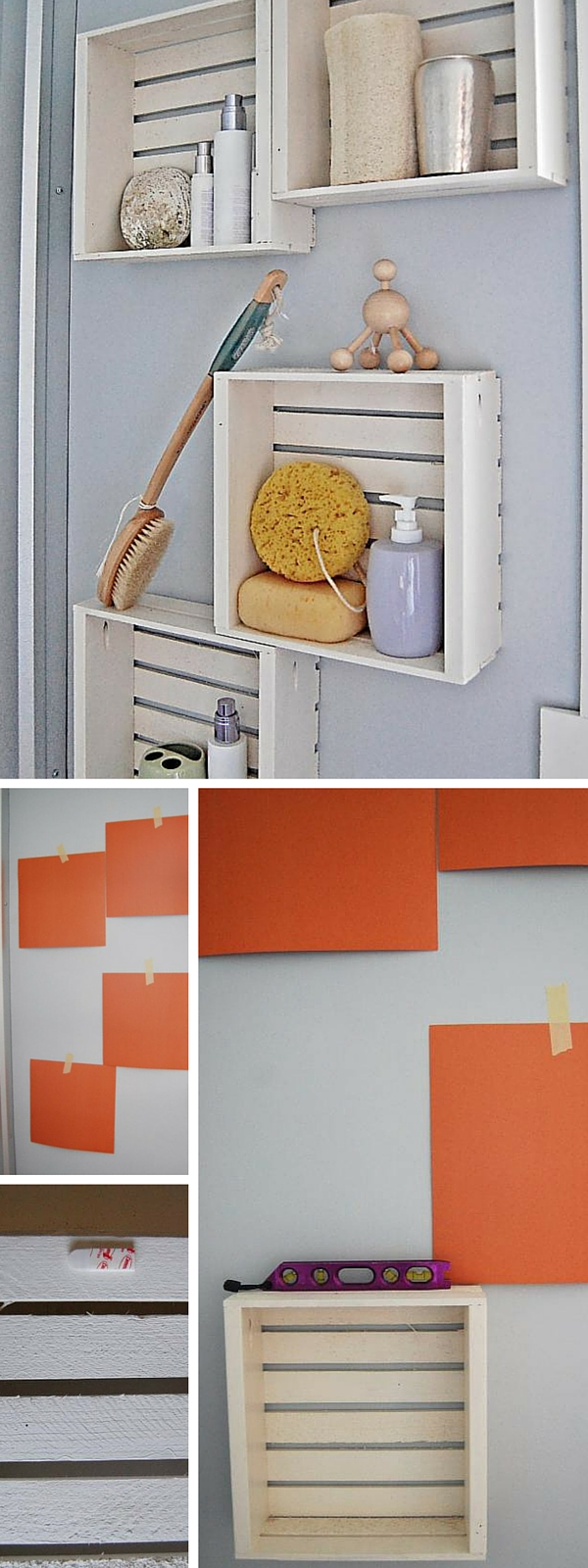 #DIY Crate Shelves #bathroomdecor