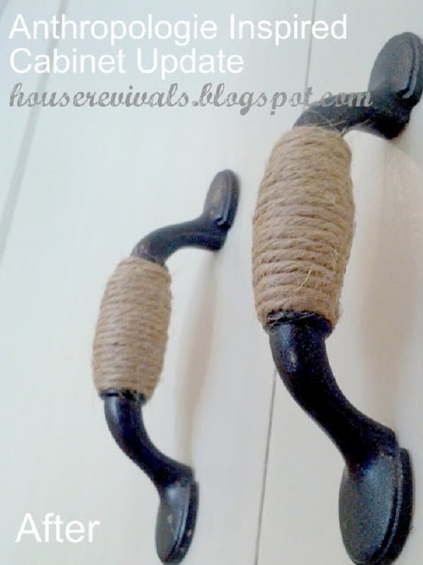 What a simple and great #DIY idea for jute wrapped cabinet handles. Worth a try! #homedecorideas