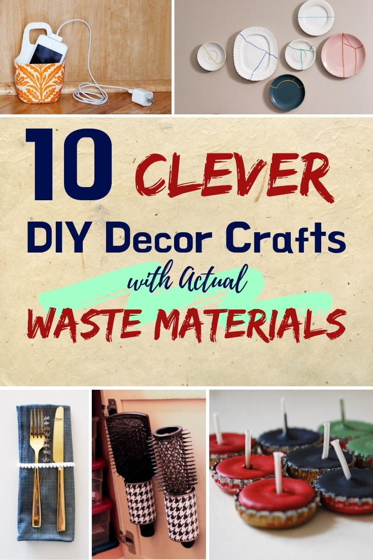 Home decor can be cheap and there's nothing cheaper than waste. These are 10 clever home decor crafts with waste materials #homedecor #DIY