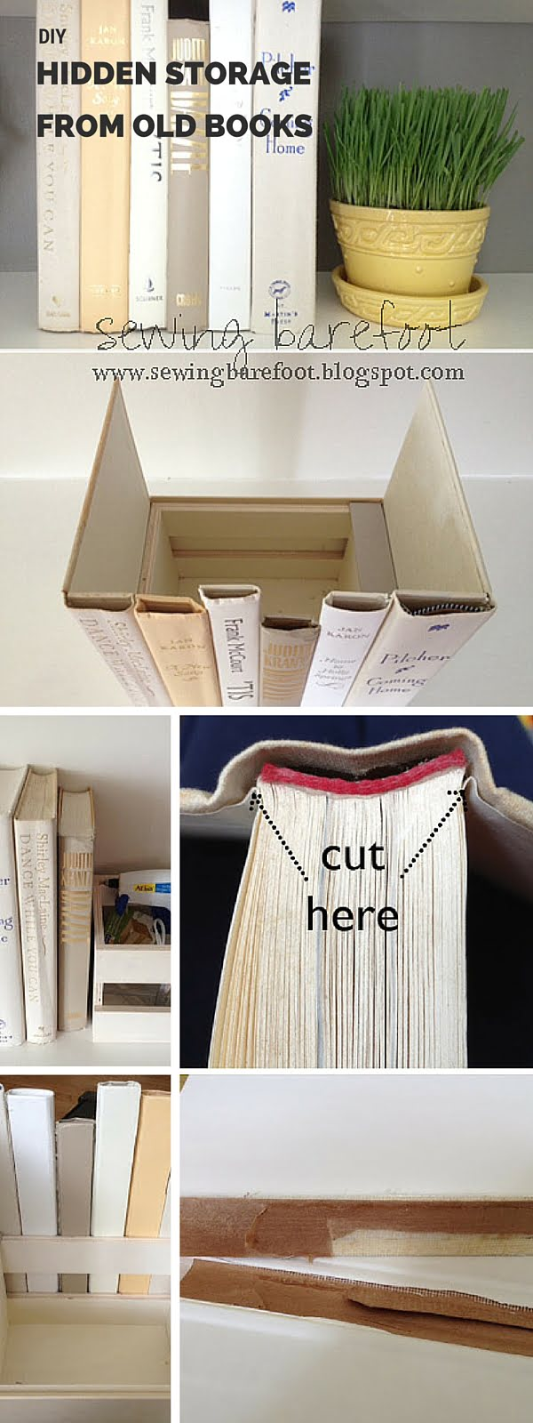 Check out the tutorial: #DIY Hidden Storage from Old Books #crafts #homedecor