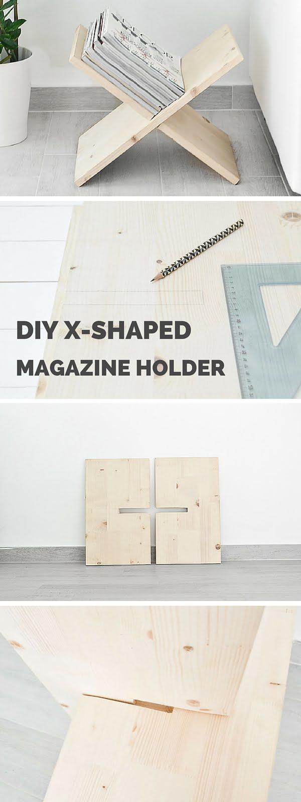 How to make a #DIY X-Shaped Magazine Holder. Looks great! #homedecorideas