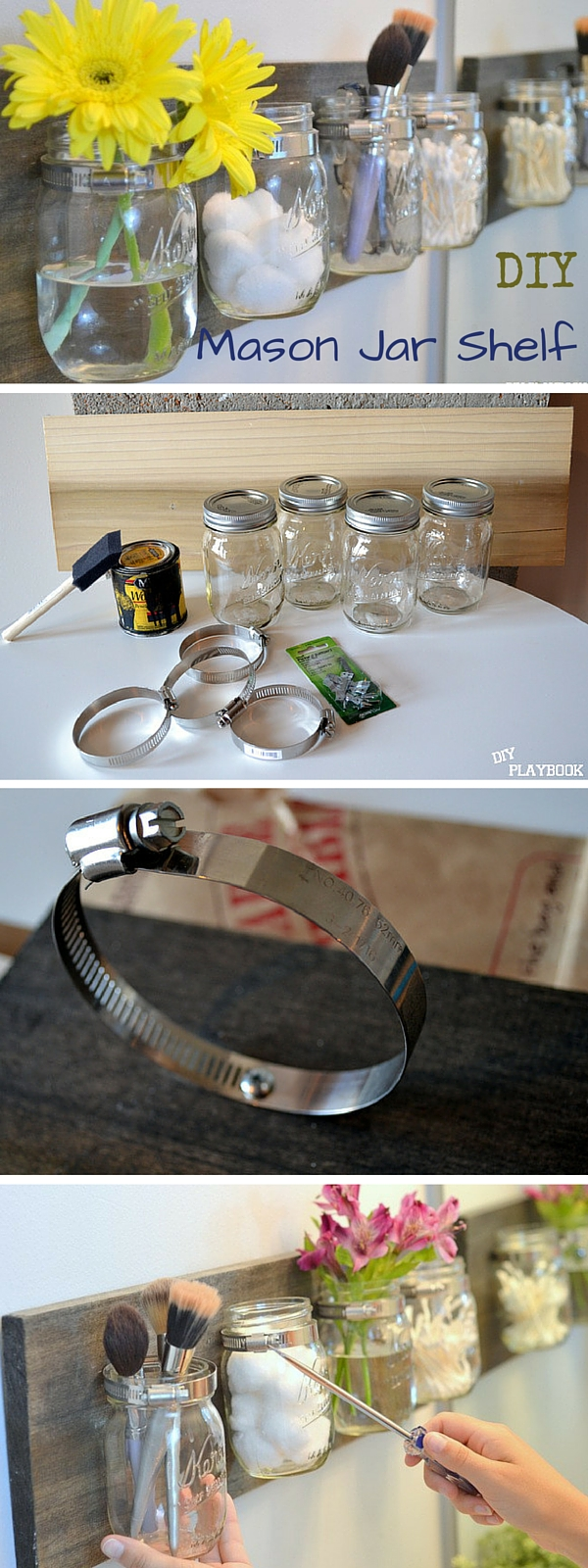 #DIY Mason Jar Shelves #bathroomdecor