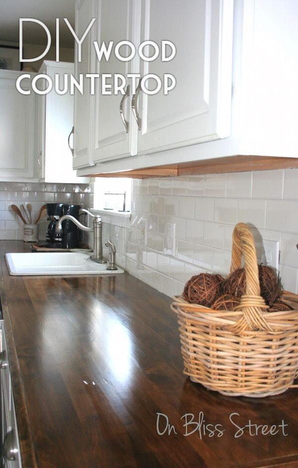 20 Easy Countertop DIY Tutorials to Revamp Your Kitchen - Check out this tutorial on how to make a  wood kitchen countertop