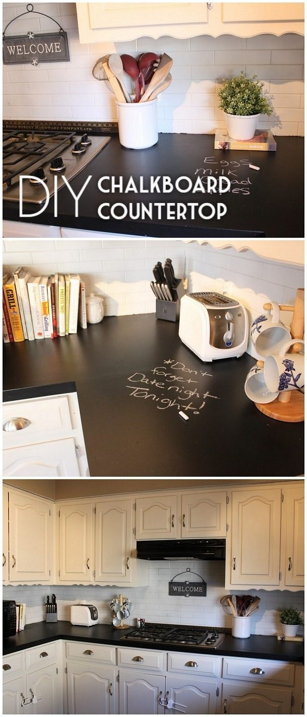 20 Easy Countertop DIY Tutorials to Revamp Your Kitchen - Check out this tutorial on how to make a  chalkboard kitchen countertop