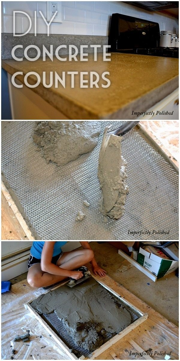 20 Easy Countertop DIY Tutorials to Revamp Your Kitchen - Check out the tutorial on how to make a  concrete kitchen countertop. Looks easy enough!