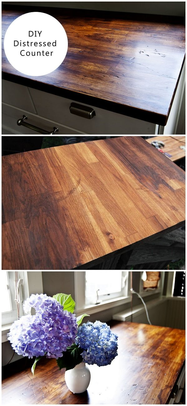 20 Easy Countertop DIY Tutorials to Revamp Your Kitchen - Check out the tutorial on how to make a  distressed wood kitchen countertop. Looks easy enough!