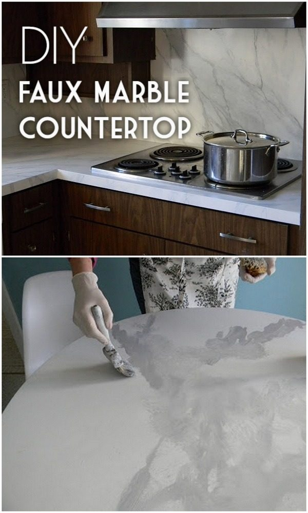 20 Easy Countertop DIY Tutorials to Revamp Your Kitchen - Check out the tutorial on how to make a  faux marble kitchen countertop. Looks easy enough!