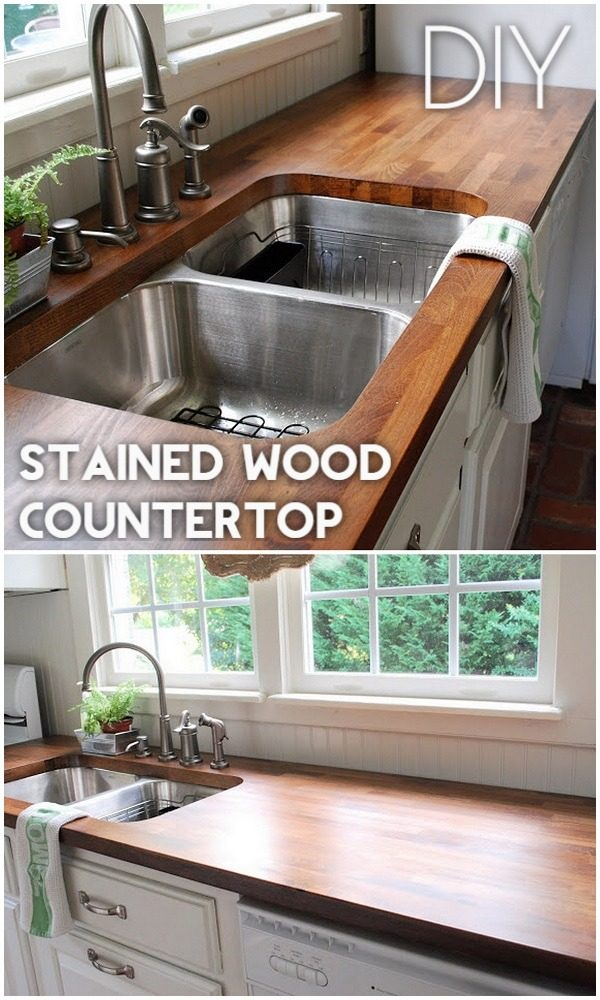 20 Easy Countertop DIY Tutorials to Revamp Your Kitchen - Check out the tutorial on how to make a  stained wood kitchen countertop. Looks easy enough!