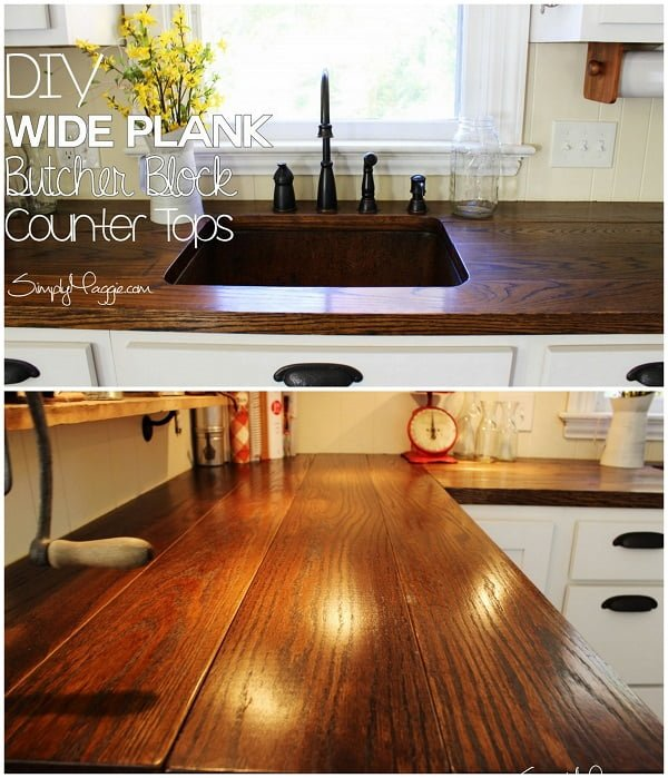 20 Easy Countertop DIY Tutorials to Revamp Your Kitchen - Check out the tutorial on how to make a  wide plank kitchen countertop. Looks easy enough!