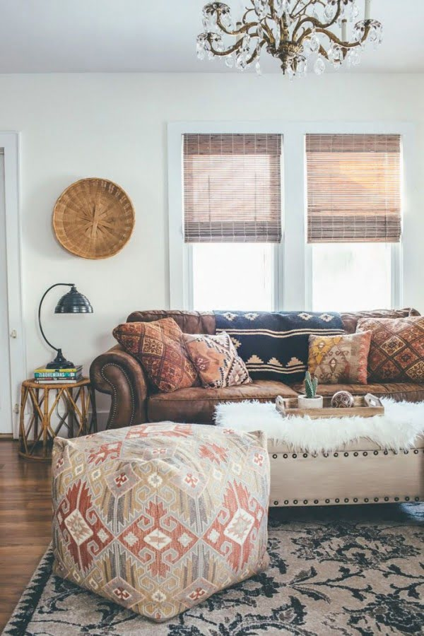 Bohemian Accents in a Modern Living Room #homedecor