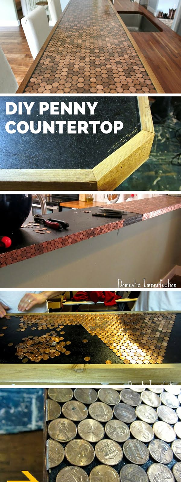 20 Easy Countertop DIY Tutorials to Revamp Your Kitchen - Check out the tutorial: DIY Penny Countertop