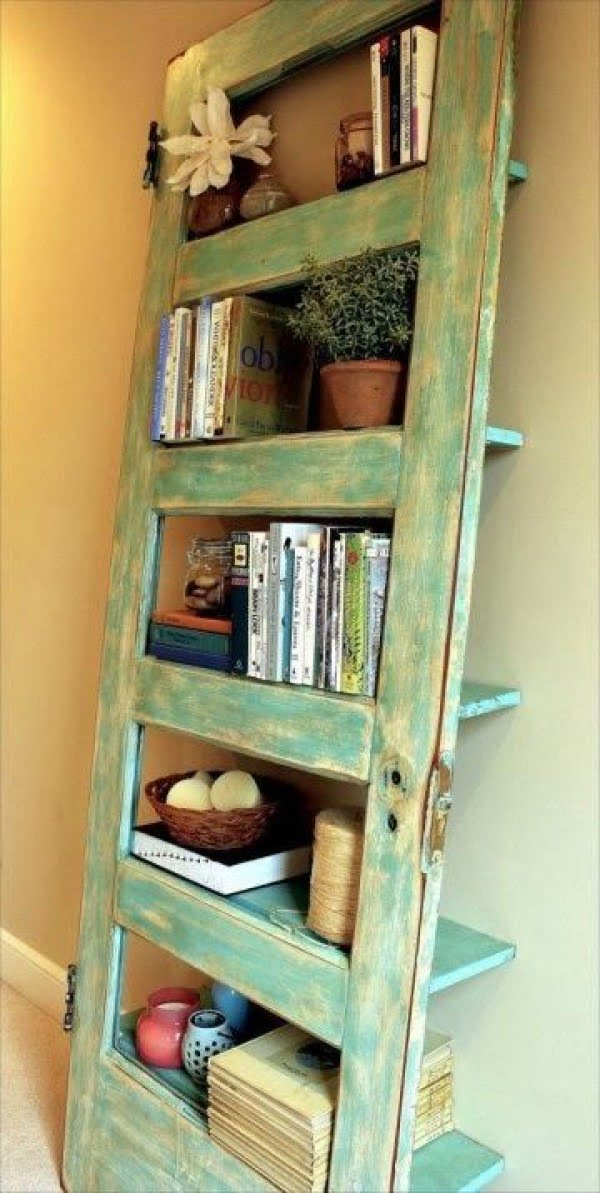 Turn an old door into a  shelving unit!